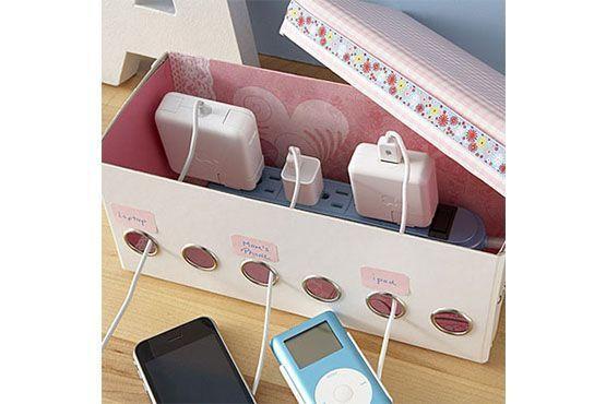 Caixa que guarda e separa tomadas e fios. Foto: Pinterest