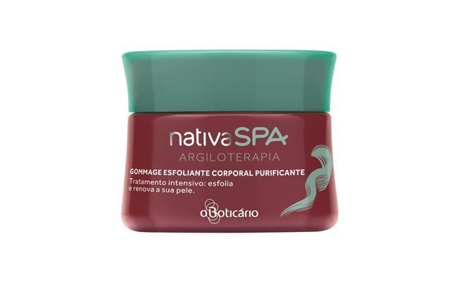 "Sabonete esfoliante Nativa SPA Argiloterapia Gommage - Boticário por R$ 37,99 na <a href="" http://www.boticario.com.br/Nativa-SPA-Argiloterapia---Gommage-Sabonete-Esfoliante-Corp--Purificante-220g-17004/p"" target=""_blank"">loja virtual</a> da marca"