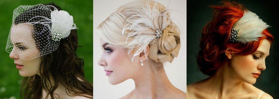 Os acessórios de cabelo com penas estão com tudo e certamente são uma opção sem erro para quem quer inovar no look de noiva.