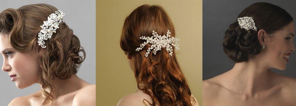 O pente de cabelo é um acessório bastante tradicional para as noivas. Em geral eles têm aplicação de strass ou cristais e combinam com penteados.