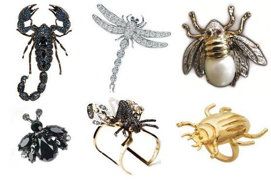 Escorpião, libélula, mosca, joaninha, aranha e besouro podem complementar o look através dos acessórios