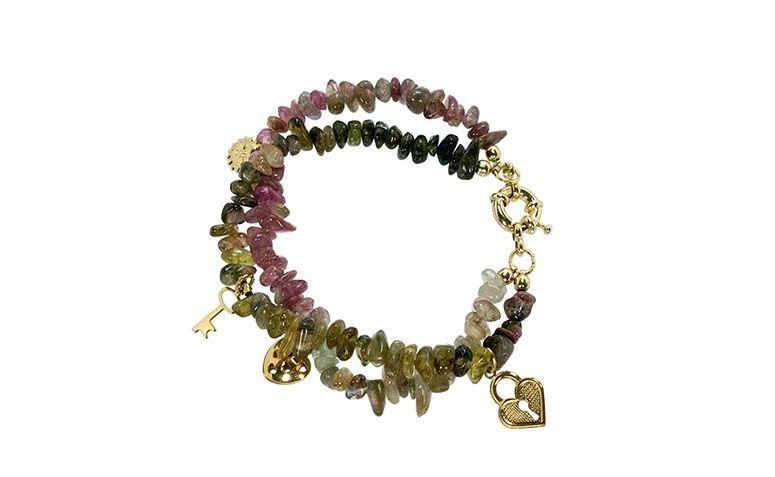 """Pulseira com turmalina verde por R$99,00 na <a href=""""https://www.carolnaderjoias.com.br/pulseira-semi-joias-bijuterias-folheados-pedra-turmalina/"""">Carol Nader Jóias</a>"""