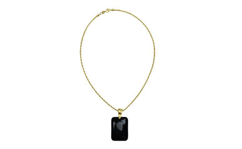 """Colar com pingente de ônix por R$68,30 na <a href=""""http://www.chademulher.com.br/produto/1475-colar-pedra-preta-onix-semi-joia"""" target=""""blank_"""">Chá de Mulher</a>"""