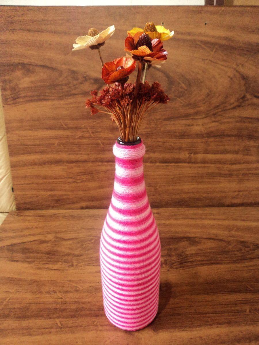 """Garrafa decorada com barbante por R$ 30 no <a href=""""http://www.elo7.com.br/garrafa-decorada-com-barbante/dp/400A28#hsn=0&df=d&uso=d&pso=cp&osbt=b-o&ss=0"""" target=""""_blank"""">Elo7</a>"""