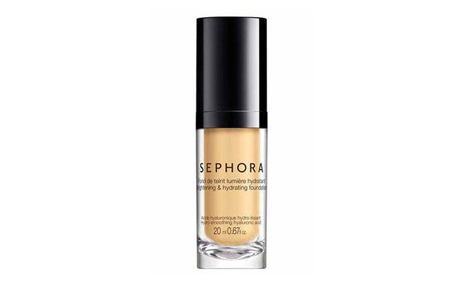 "Base Líquida por R$ 79 na <a href=""www.sephora.com.br/sephora-collection/maquiagem/face/base-brightening-e-hydrating-foundation-13430"" target=""blank_"">Sephora</a>"
