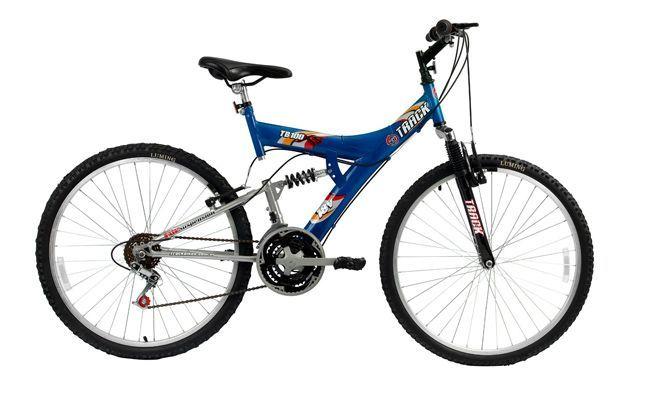 """A Track Bikes TB 100 tem dupla suspensão 18 V. O aro é ideal para quem busca mais desempenho. Ela foi projetada para dar maior absorção de impactos e diminuir as trepidações em terrenos irregulares. R$419,00 no <a href=""""http://www.netshoes.com.br/produto/516-0045-178"""" target=""""_blank"""">Netshoes</a>"""