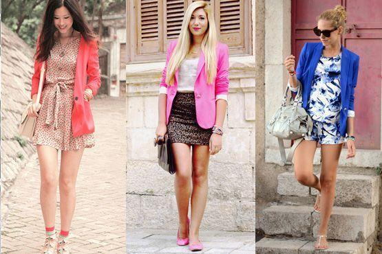 Combinação: blazer colorido e estampas do verão