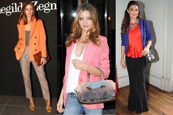 Looks celebridades com blazer colorido
