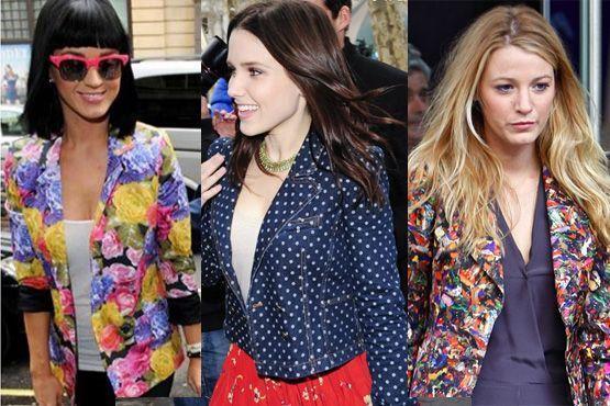 Blazer colorido com estampas das celebridades