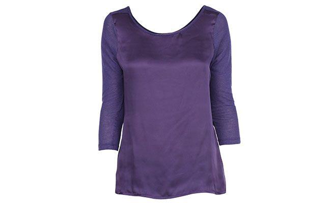 satin blaus dengan garis leher di bahagian belakang dan lengan 3/4 untuk R $ 143.00 dalam penghantaran fesyen