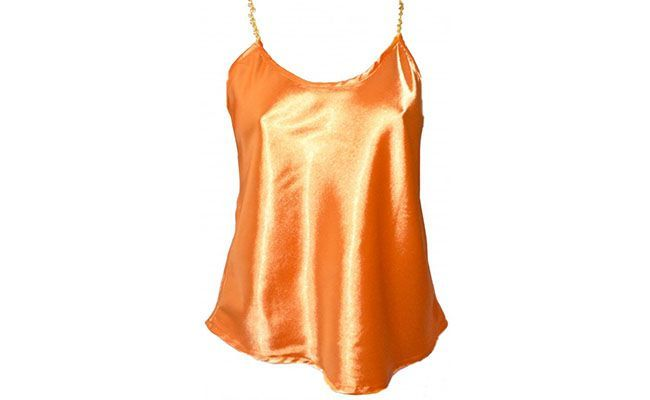 orange satin blouse with chain strap for $ 49.90 in Cia Fashion Woman