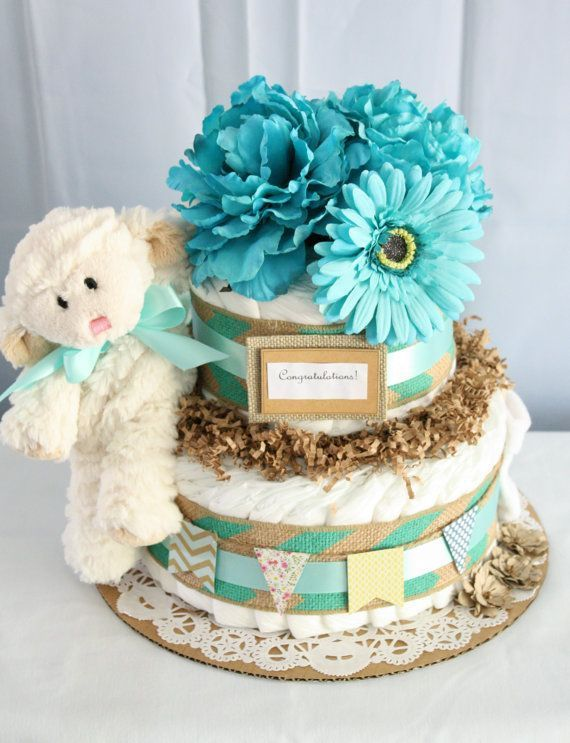 "Foto: Reprodução / <a href=""https://www.etsy.com/listing/206042422/turquoise-and-burlap-diaper-cake"" target=""_blank"">Etsy</a>"