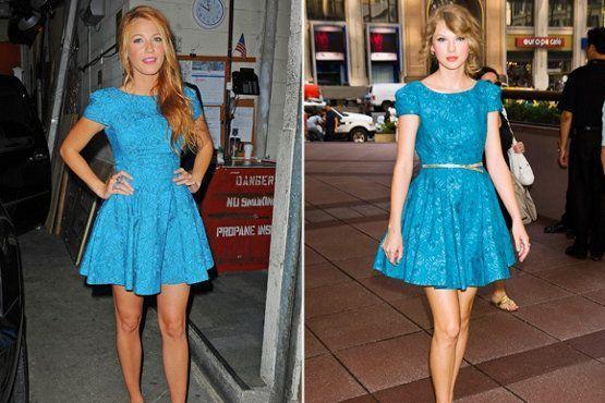 Blake Lively e Taylor Swift são adeptas do estilo e apostam em vestidos rodados, acinturados e com cinto para compor um look bonequinha.