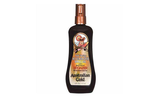 "Acelerador de bronzeamento em gel Australian Gold por R$59,90 na <a href=""http://www.belezanaweb.com.br/australian-gold/dark-tanning-accelerator-with-instant-bronzer-spray-gel-237ml/"" target=""blank_"">Beleza na Web</a>"