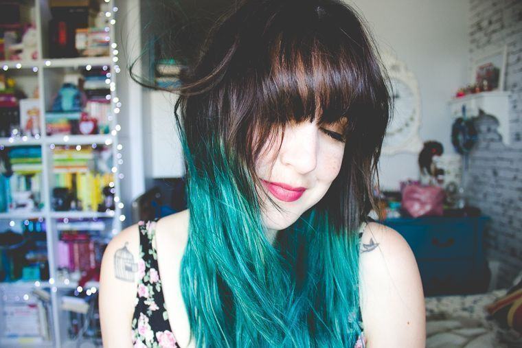 Brown blue ombre hair