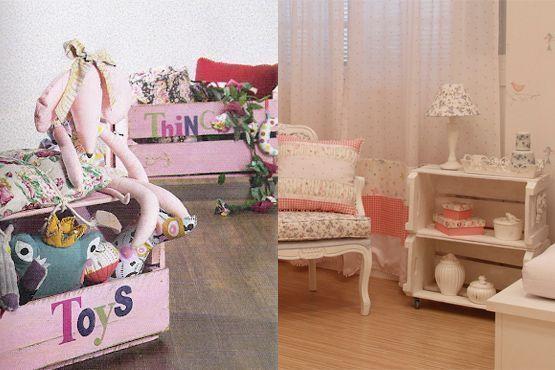 Caixotes de madeira no quarto infantil