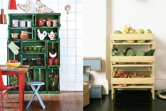 Caixotes de madeira na cozinha