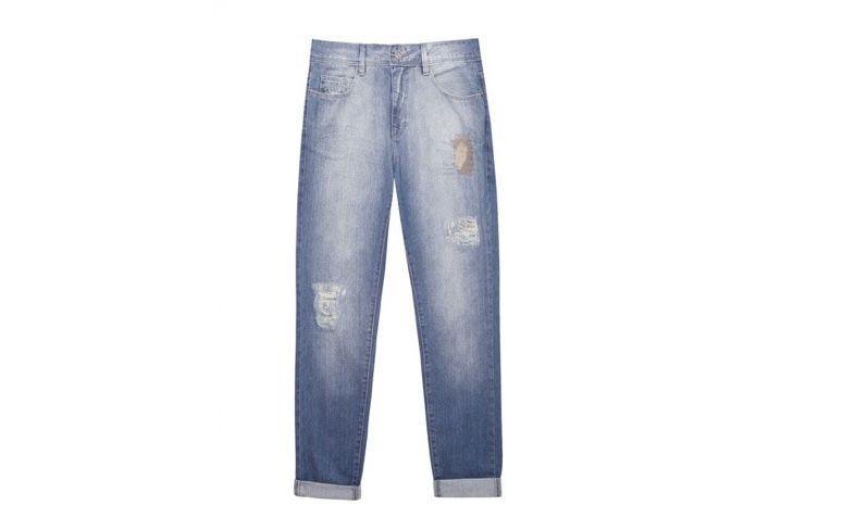 "Calça jeans boyfriend por R$209,00 na <a href=""https://www.oqvestir.com.br/calca-jeans-boyfriend-cerzido-azul.html "" target=""blank_"">Oqvestir</a>"