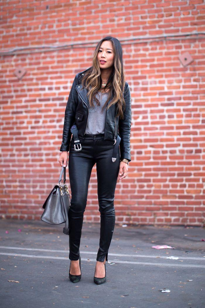 "Foto: Reprodução / <a href=""http://www.songofstyle.com/2013/10/leather-jacket-and-leather-pants.html"" target=""_blank"">Song of Style</a>"