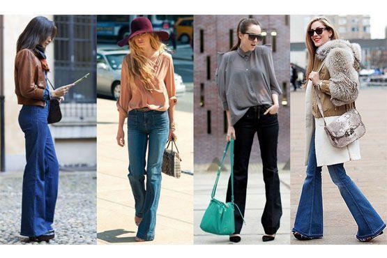Calças flare jeans