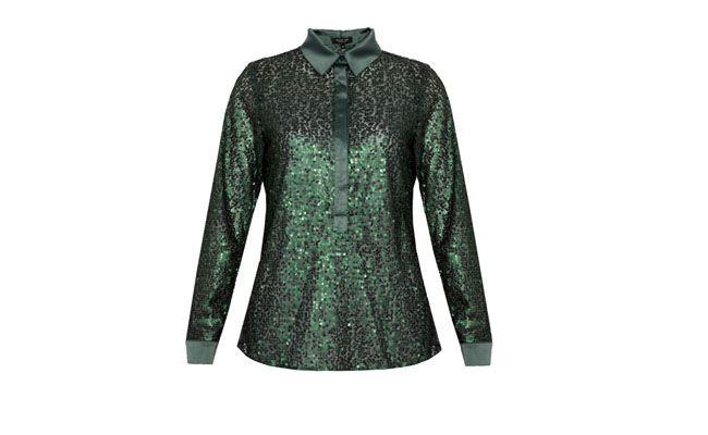 Camisa de lentejuelas verdes para R $ 134,90 en Dafiti