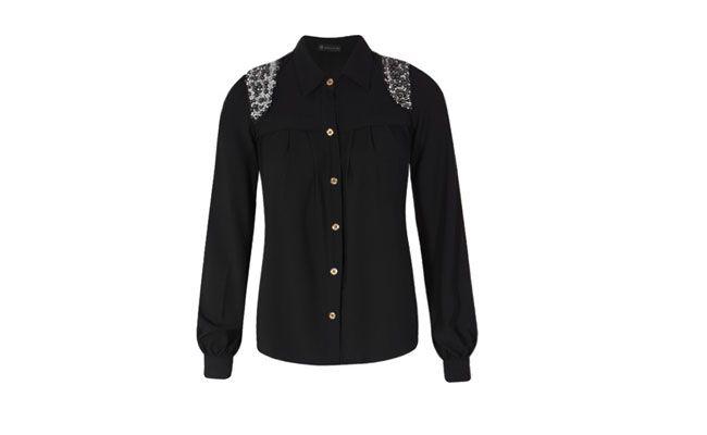 camisa de color negro con bordados de $ 61.90 en Dafiti