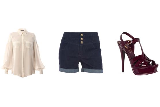 Os shorts fazem uma ótima combinação com as camisas. Neste look o short jeans dá um contraste legal à seriedade da camisa de manga longa.