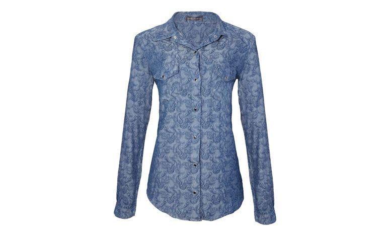 "Camisa jeans estampada Bobstore por R$389,00 na <a href=""http://www.oqvestir.com.br/camisa-jeans-bobstore-paisley-azul-62100.aspx/p"" target=""blank_"">OQVestir</a>"