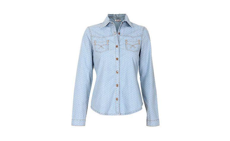 "Camisa jeans floral Desmond por R$119,99 na <a href=""http://www.passarela.com.br/passarela/produto/camisa-casual-jeans-floral-feminina-desmond-6400896964-0"" target=""blank_"">Passarela</a>"