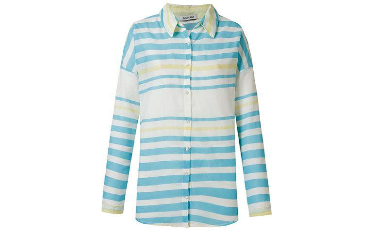 blue, green and white striped shirt Cavalera by R $ 99 in Farfetch