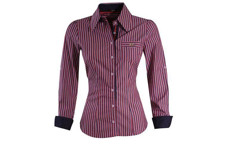 red, navy and white striped shirt by R $ 179 in Osmium
