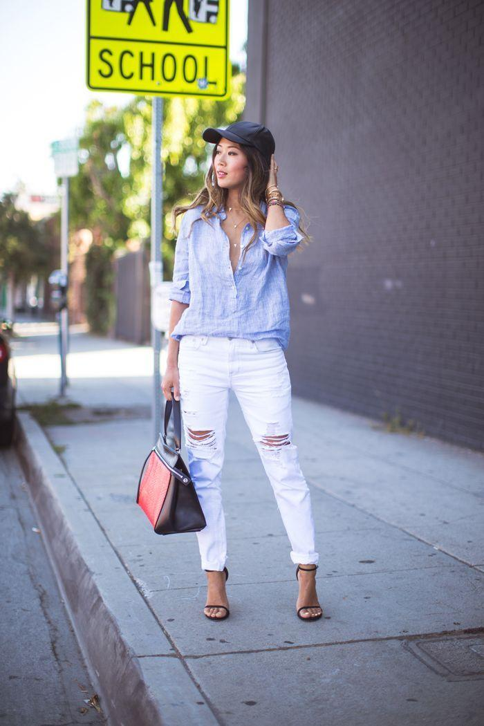 "Foto: Reprodução / <a href=""http://www.songofstyle.com/2014/06/ripped-jeans-and-leather-baseball-cap.html"" target=""_blank"">Song of Style</a>"