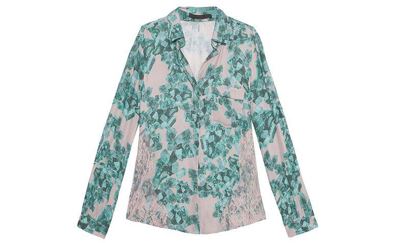 """Camisa de seda estampada Animale por R$399 na <a href=""""http://www.oqvestir.com.br/camisa-seda-turmalina-rosa-e-verde-52847.aspx/p"""" target=""""blank_"""">Oqvestir</a>"""