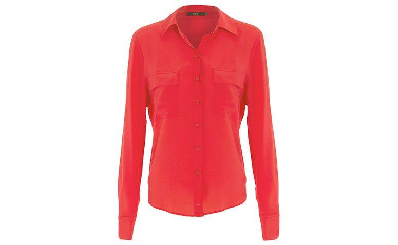 Shop2gether에서 R $ 247.20에 의해 ZEIT 빨간색 실크 셔츠