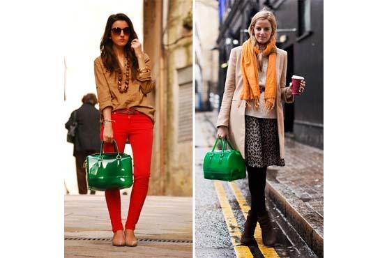 Sugestões de looks com candy bag no inverno