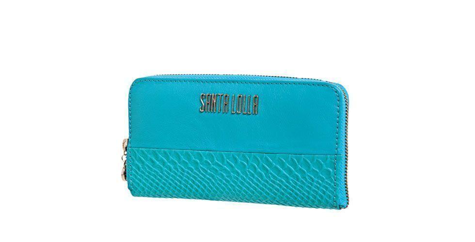 <p>Carteira azul turquesa – Santa Lolla por R$219,90 na Loja Dafiti.</p>