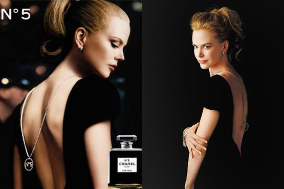 """A grife Chanel apostou no colar nas costas da atriz Nicole Kidman para divulgar a reatualização do perfume """"Chanel N°5"""""""