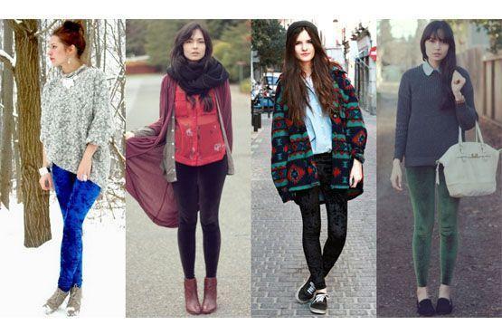 Leggings aveludadas mostram-se forte tendência para o inverno dotando de charme e modernidade a produção.