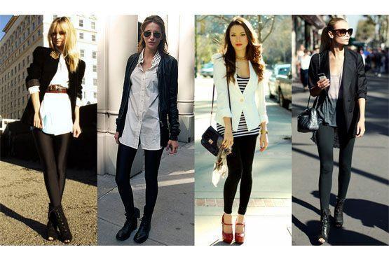 Invista em t-shirts amplas e compridas, tal como blazers, cardigãs e jaquetas curtas aliadas às leggings como sobreposições.