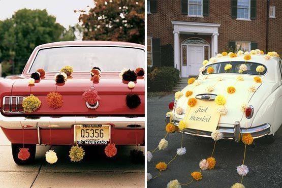 As latinhas podem ser substituídas por flores amarradas ao carro
