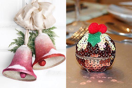 Sinos e bolas natalinas com brilho