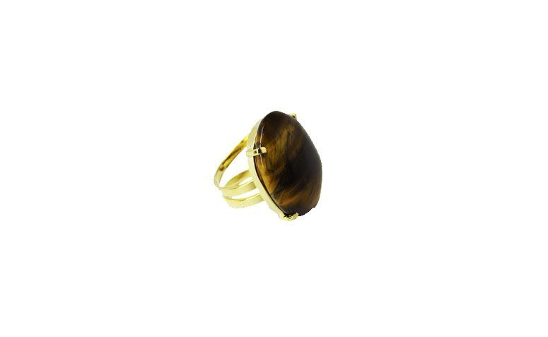 $ 56.90 naElo7 için doğal taş Tiger Eye ile altın kaplama yüzük