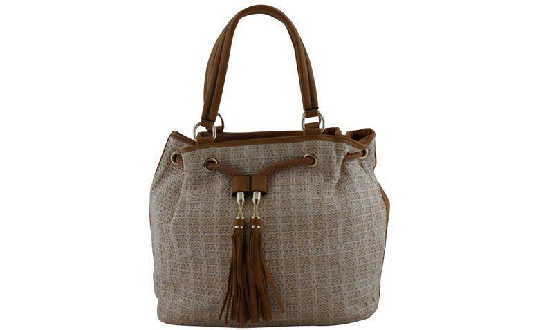 """Bolsa bege e camel Davinci por R$129,90 na <a href=""""http://www.ellastore.com.br/bolsas-femininas/davinci/bolsa-davinci-dv-0840-bege-e-camel"""" target=""""_blank"""">Ella Store</a>"""