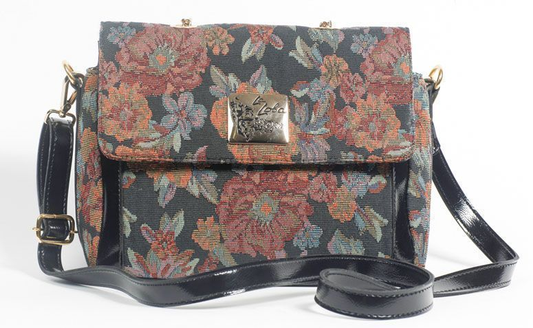 Bag blue floral shoulder strap La Loba for R $ 229.00 in La Loba