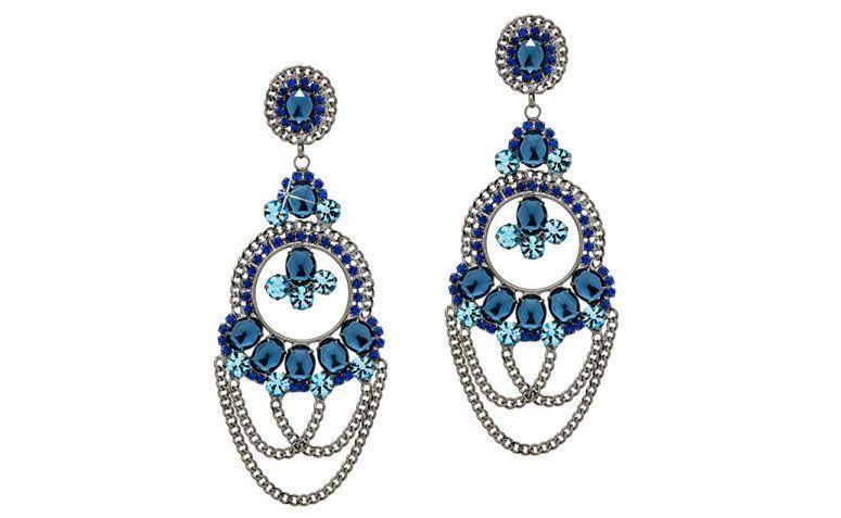 """Brinco de festa com cristais azuis por R$129,00 na <a href=""""http://www.franciscajoias.com.br/maxi-brinco-com-cristais-azuis-em-rhodium-escuro.html"""" target=""""_blank"""">Francisca Joias</a>"""