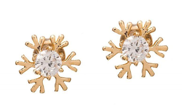 """Brinco pequeno floco de neve com zircônia por R$49,90 na <a href=""""http://www.franciscajoias.com.br/brinco-floco-de-neve-com-zirconia-folheado-em-ouro-18k.html"""" target=""""_blank"""">Francisca Joias</a>"""