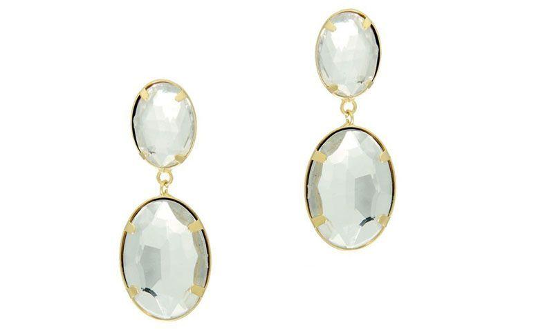"""Brinco folheado a ouro com cristal transparente por R$42,90 na <a href=""""http://www.franciscajoias.com.br/brinco-de-cristal-semi-joia-folheada-a-ouro-18k.html"""" target=""""_blank"""">Francisca Joias</a>"""