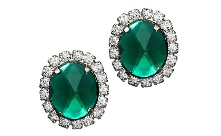 """Brinco de cristal verde e detalhes de cristais brancos por R$45,90 na <a href=""""http://www.franciscajoias.com.br/brinco-de-cristal-verde-e-detalhes-em-cristais-brancos-folheado-em-rhodium.html"""" target=""""_blank"""">Francisca Joias</a>"""