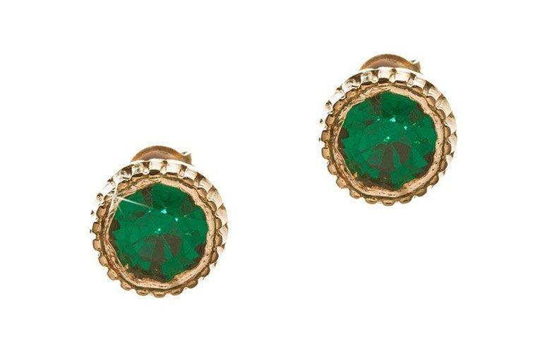 """Brinco com pedra natural verde esmeralda por R$35,90 na <a href=""""http://www.franciscajoias.com.br/brinco-semi-joia-com-pedra-natural-verde-esmeralda-folheado-em-ouro-18k.html"""" target=""""_blank"""">Francisca Joias</a>"""