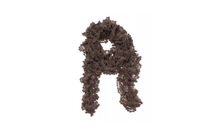 """Cachecol de tricô de bolinhas por R$95,63 na <a href=""""http://www.pashminas.com.br/la/cachecol-la-cinza-160x010-cm"""" target=""""_blank"""">Pashmina</a>"""